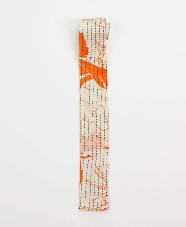 Hand-stitched Cotton Men's Tie - Tangerine Abstract | Anchal Project