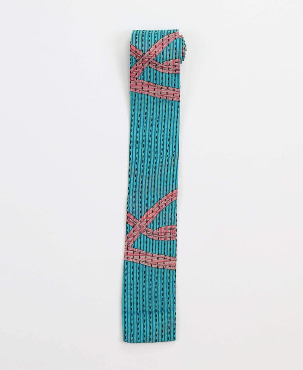 teal and pink geometric cotton square tie