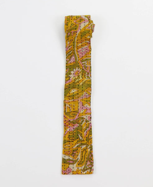 Hand-stitched Cotton Men's Tie - Yellow Jungle | Anchal Project