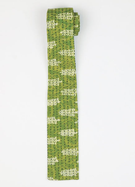 Handmade Cotton Square Scarf - Green Leaf | Anchal Project