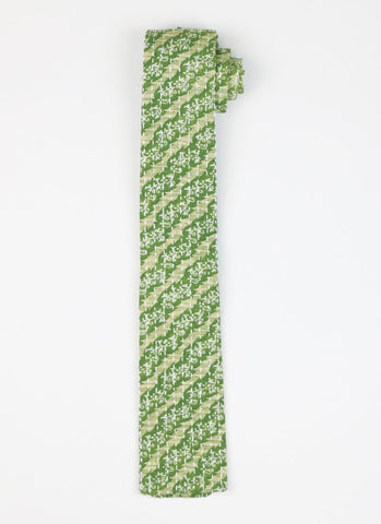 Hand Stitched Cotton Men's Tie - Green Stripes | Anchal Project