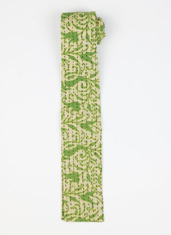 Hand Stitched Cotton Men's Tie - Green Vine | Anchal Project