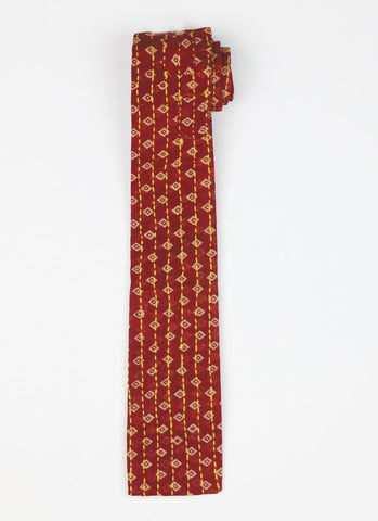 Hand Stitched Cotton Men's Tie - Maroon Diamond | Anchal Project