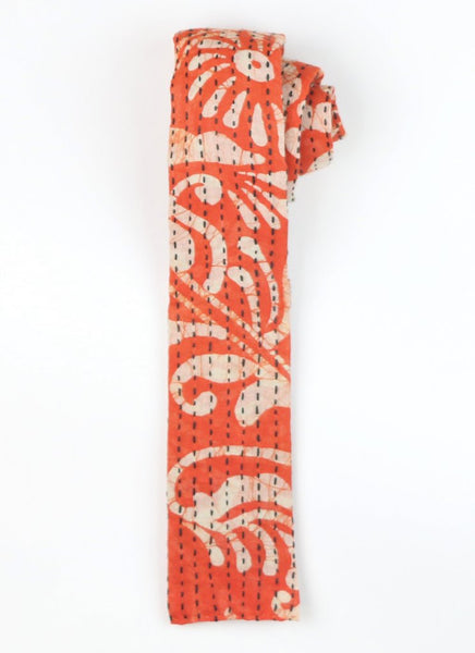 Hand Stitched Cotton Men's Tie - Orange Vine | Anchal Project