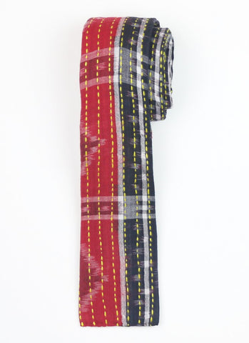Hand Stitched Cotton Men's Tie - Red and Black Stripe | Anchal Project