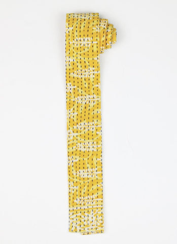 Hand Stitched Cotton Men's Tie - Yellow Vine | Anchal Project