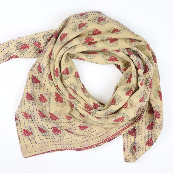 Handmade Cotton Square Scarf - Cream Suns | Anchal Project