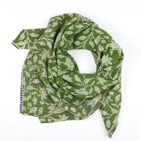 Handmade Cotton Square Scarf - Kelly Green Crinkle | Anchal Project