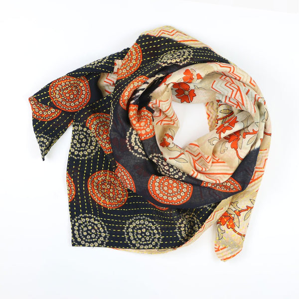 Handmade Cotton Square Scarf - Navy Suns | Anchal Project