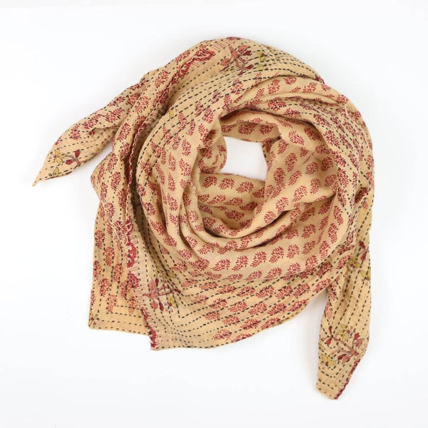Handmade Cotton Square Scarf - Sandy Leaves | Anchal Project