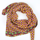 Handmade Cotton Square Scarf - Sunset Pansy | Anchal Project