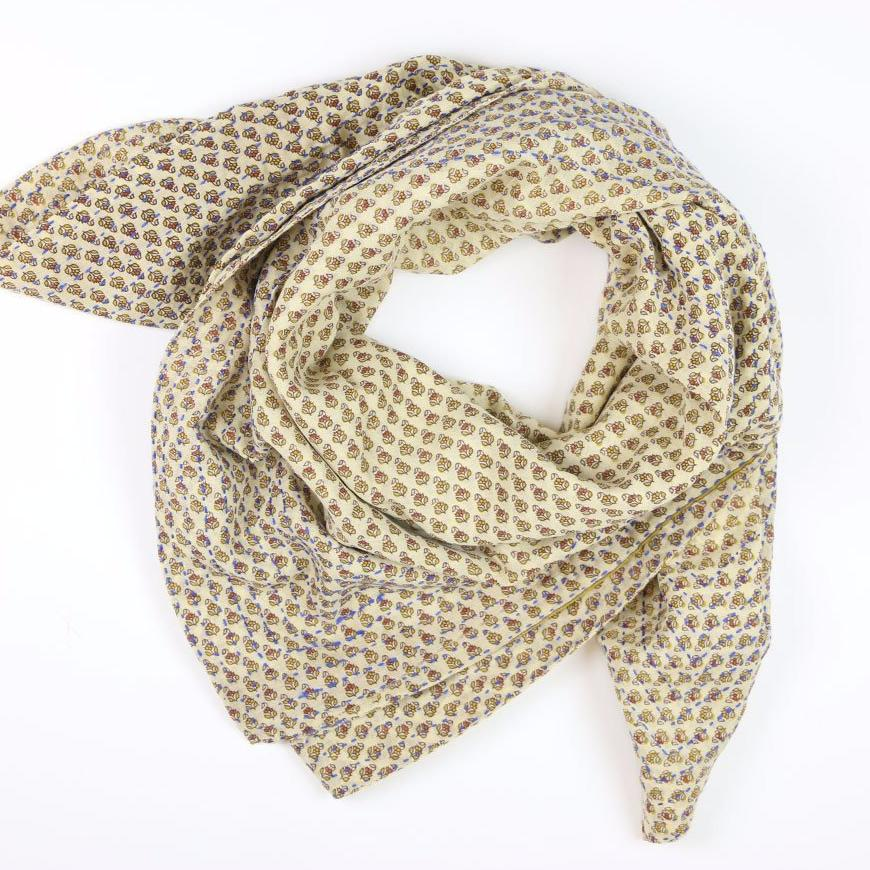 Handmade Cotton Square Scarf - Tan Blooms | Anchal Project
