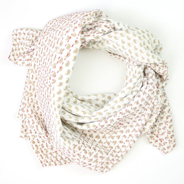 Handmade Cotton Square Scarf - Cream Paisley | Anchal Project
