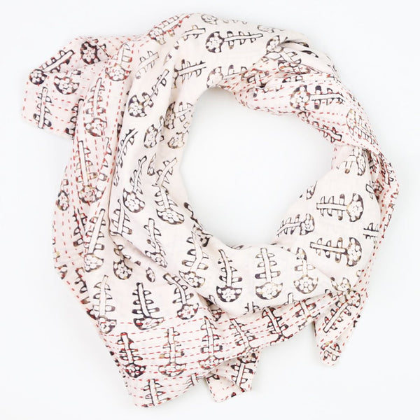 Handmade Cotton Square Scarf - Cream and Brown Flower | Anchal Project