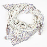 Handmade Cotton Square Scarf - Cream and Brown Patch | Anchal Project