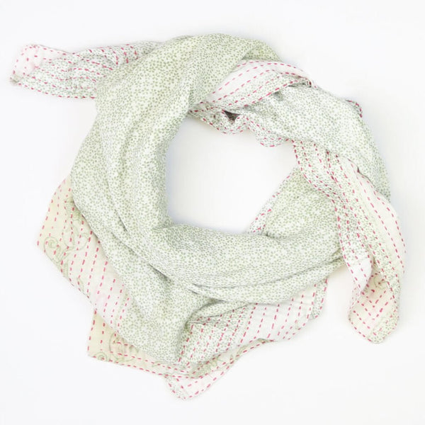 Handmade Cotton Square Scarf - Green and Cream Lily | Anchal Project