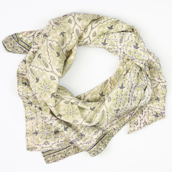 Handmade Cotton Square Scarf - Green and Grey Sun | Anchal Project