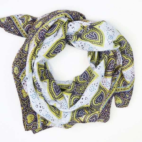 Handmade Cotton Square Scarf - Lime Green and Blue Star | Anchal Project