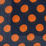 Handmade Cotton Square Scarf - Navy and Orange Polka Dots | Anchal Project