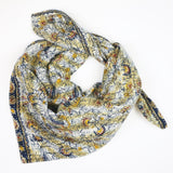 Handmade Cotton Square Scarf - Navy and Yellow Bird | Anchal Project