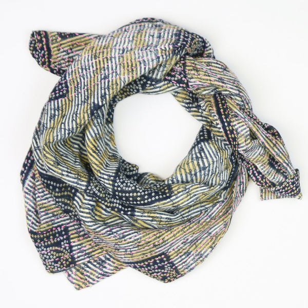 Handmade Cotton Square Scarf - Navy and Yellow Squares | Anchal Project