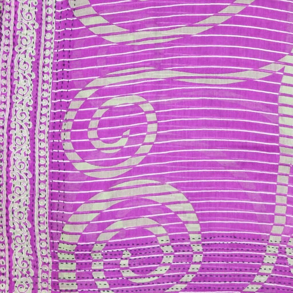 Handmade Cotton Square Scarf - Purple and White Stripe | Anchal Project