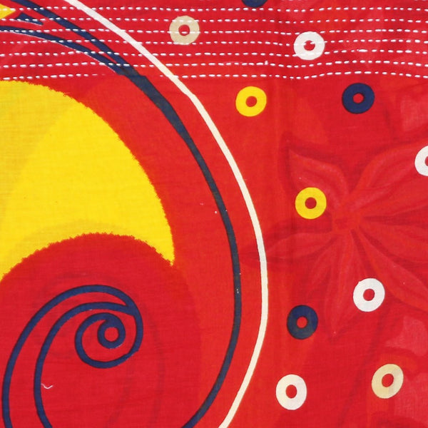 Handmade Cotton Square Scarf - Red and Yellow Circles | Anchal Project
