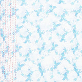 Handmade Cotton Square Scarf - Sky Blue Flowers | Anchal Project