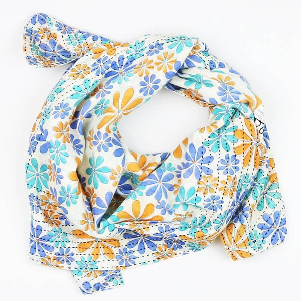 Handmade Cotton Square Scarf - Teal and Orange Daisy | Anchal Project