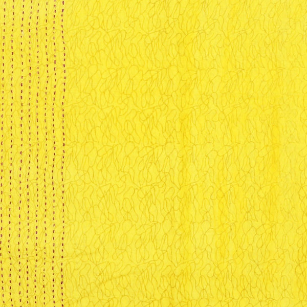 Handmade Cotton Square Scarf - Yellow Squiggle | Anchal Project