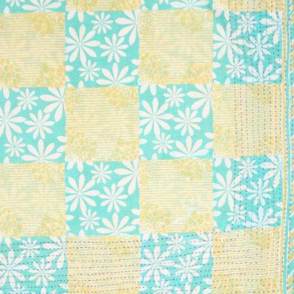 Handmade Cotton Square Scarf - Yellow and Aqua Flower | Anchal Project