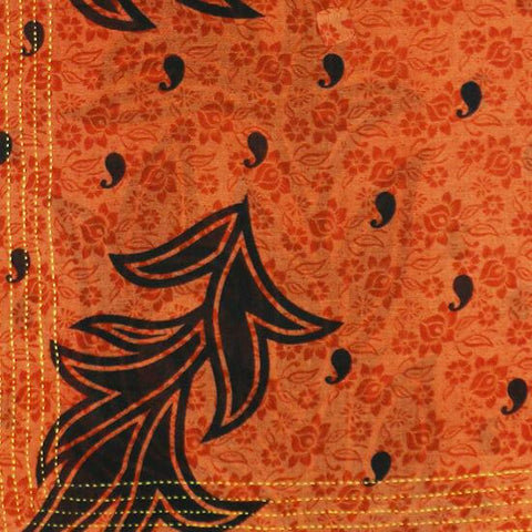 Handmade Cotton Square Scarf - Burnt Orange Leaves | Anchal Project