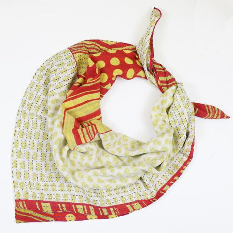Handmade Cotton Square Scarf - Buttercream Dots | Anchal Project