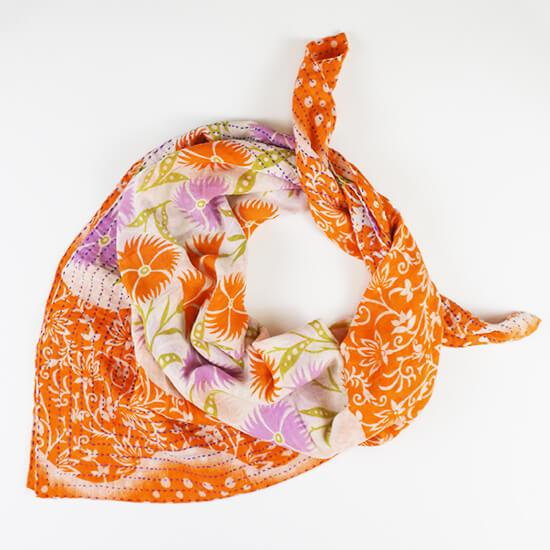 Handmade Cotton Square Scarf - Papaya Vines | Anchal Project