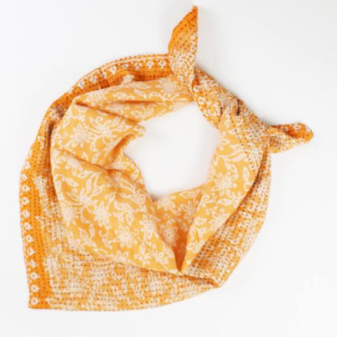 Handmade Cotton Square Scarf - Tangerine Lily Vines | Anchal Project