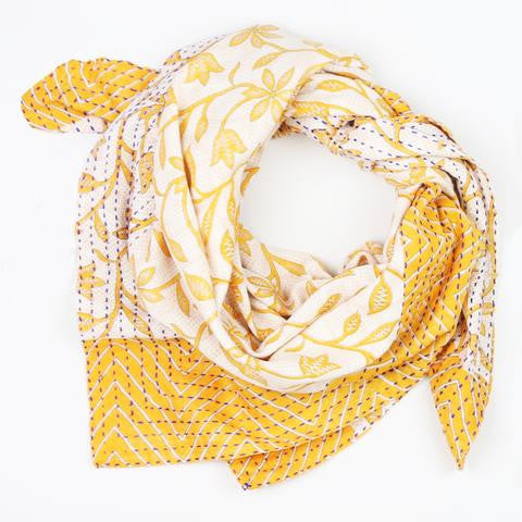 Handmade Cotton Square Scarf - Orange and Cream Vinery | Anchal Project