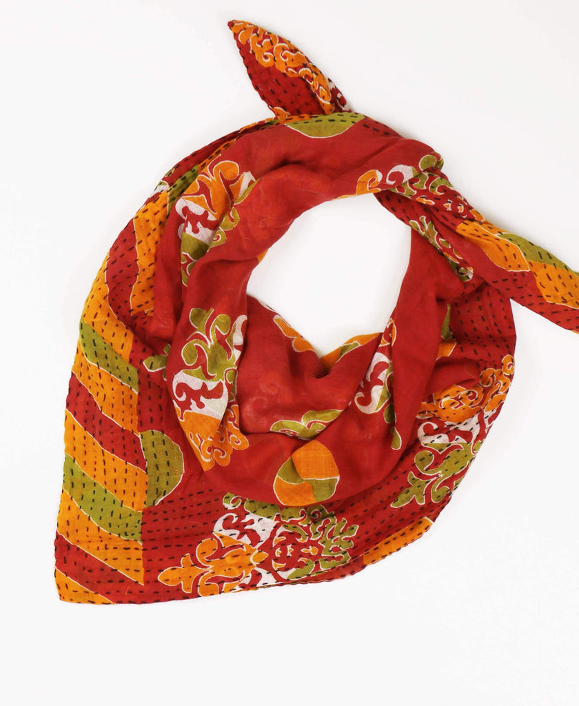 cotton square scarf with traditional embroidery