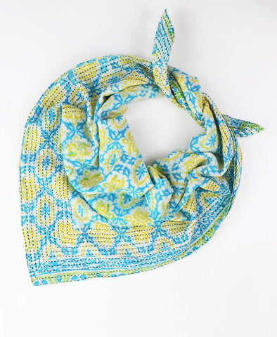 Handmade Cotton Square Scarf - Aqua Medallion | Anchal Project