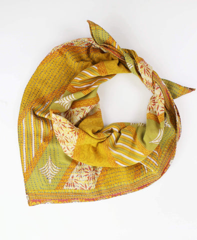 Handmade Cotton Square Scarf - Avocado Geometric | Anchal Project