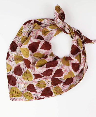 Handmade Cotton Square Scarf - Burgundy Leaves | Anchal Project
