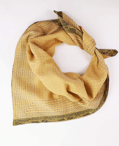 Handmade Cotton Square Scarf - Butterscotch Dots | Anchal Project