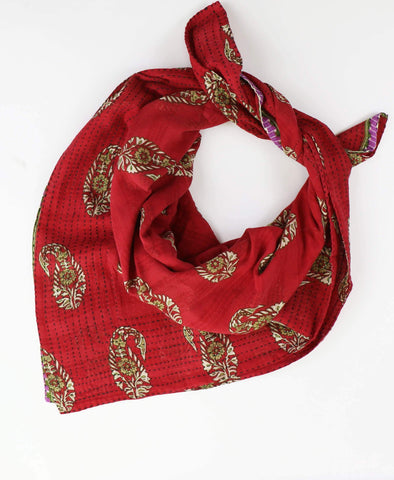 Handmade Cotton Square Scarf - Cherry Paisley | Anchal Project