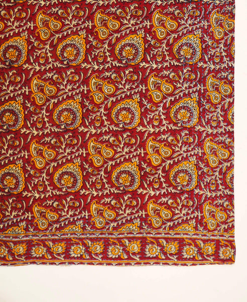 Handmade Cotton Square Scarf - Crimson Sunflower | Anchal Project