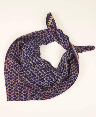 Handmade Cotton Square Scarf - Eggplant Floral | Anchal Project