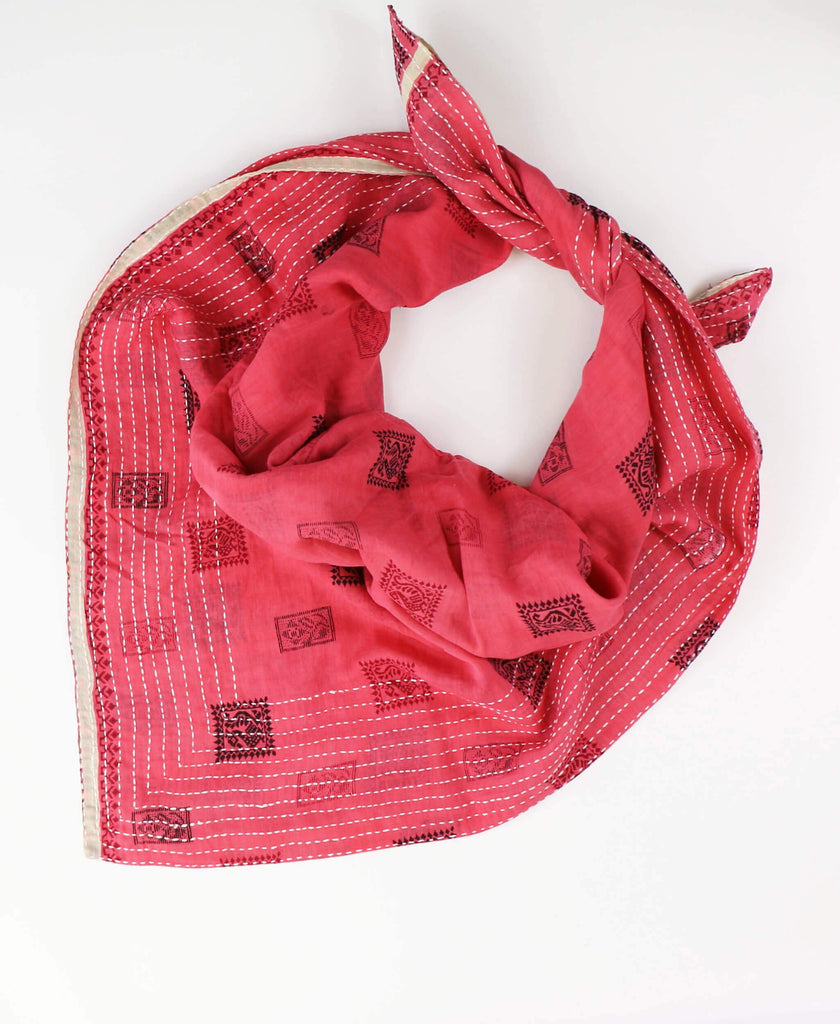 Handmade Cotton Square Scarf - Fuchsia Boxes | Anchal Project