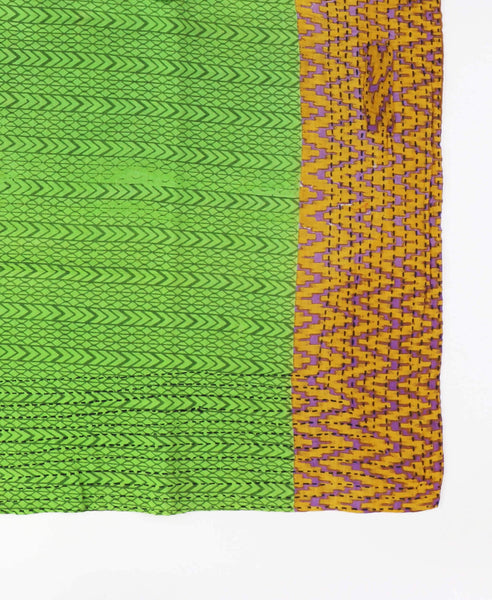 Handmade Cotton Square Scarf - Green Arrows | Anchal Project