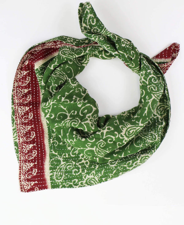 Handmade Cotton Square Scarf - Green Swirls | Anchal Project