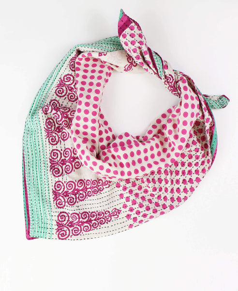 Handmade Cotton Square Scarf - Hot Pink Polka Dots | Anchal Project