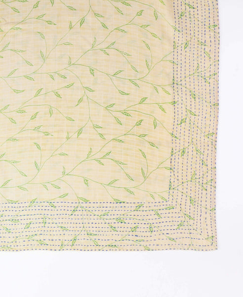 Handmade Cotton Square Scarf - Ivory Branches | Anchal Project