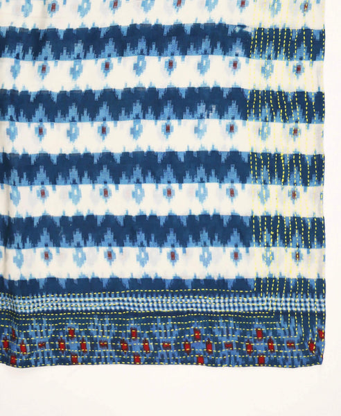 Handmade Cotton Square Scarf - Navy Blue Ikat | Anchal Project
